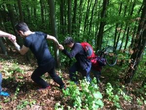 Cooperation, teamwork, forest, men's academy